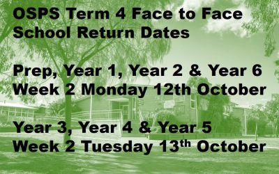 OSPS RETURN DATES TO FACE TO FACE LEARNING WEEK 2