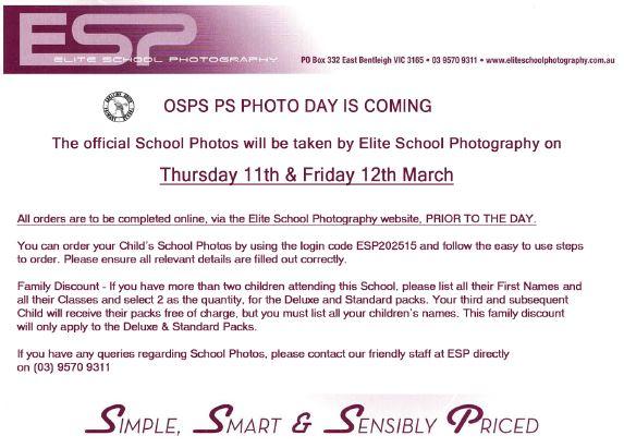 SCHOOL PHOTOGRAPHS REMINDER